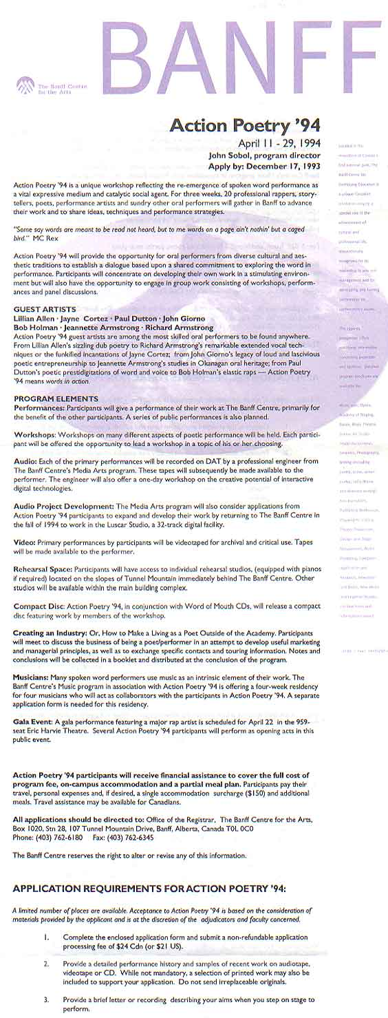Pamphlet for Action Poetry '94, the program I created that was attended by 44 performance poets including John Giorno, Jayne Cortez, Lillian Allen, Jeannette Armstrong, Bob Holman, Paul Dutton, Clifton Joseph, Audri Zhina-Mandiela, Diane Wolkstein and Sheri-D Wilson among many others.