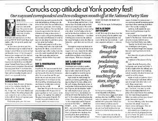 An article about AWOL Love Vibe at National Poetry Slam in San Francisco (1993)