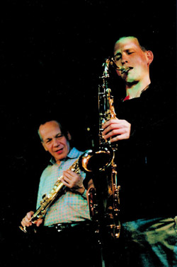 In performance with Steve Lacy at the Banff Centre in 1994