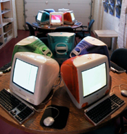 The garage at Globalhood, the digital playground I co-founded with Freddy Nyiti, filled with 1st generation iMacs