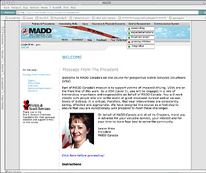 An online learning course I created for MADD Canada in 2004