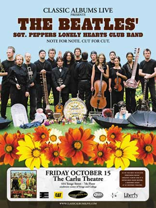 A poster for the Classic Albums Live version of Sgt Peppers. That's me with the big hair on the left!