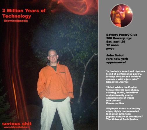 Poster for my show at the 2005 Edmonton Fringe: Two Million Years of Technology