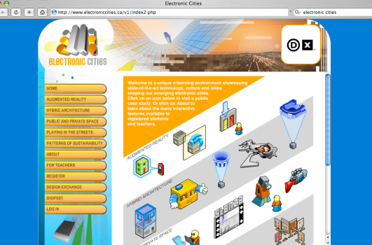 I produced an elearning site called Electronic Cities after digifest 2003. I wrote 20 case studies on augmented reality and implemented a powerful backend for community-based learning.